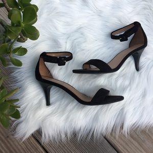 Talbots black suede ankle strap peep toe heel